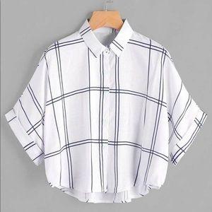 Cute button up plaid blouse
